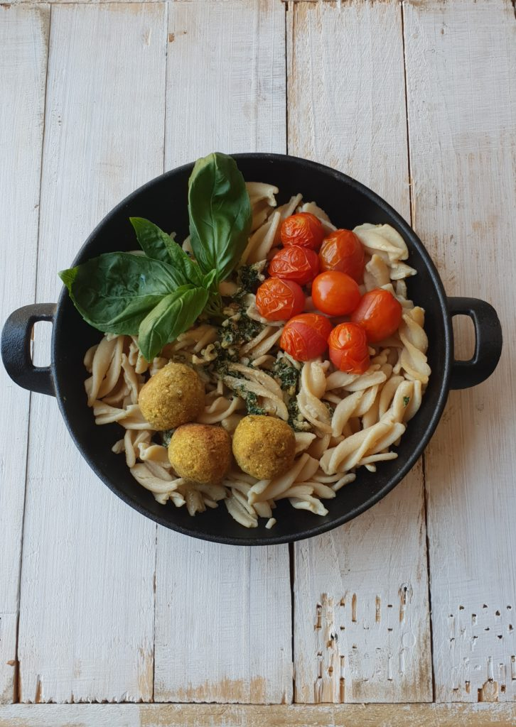 Chickpea Pasta with Basil Pesto and Falafel
